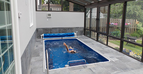 Endless pools swim spas lap swimming pools alternative for Domestic swimming pool design
