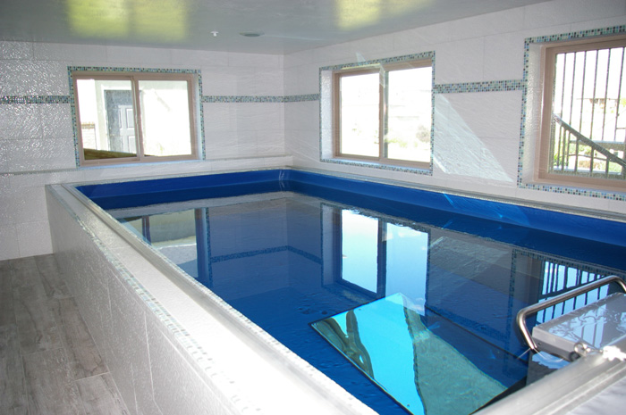 an indoor Endless Pools swimming machine